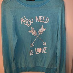 """All You Need Is Love"" blue Wildfox sweatshirt!!"